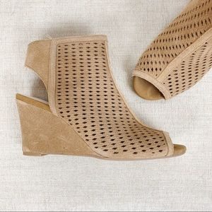 INC Tan Camel Suede Open Toe Wedge Booties 7